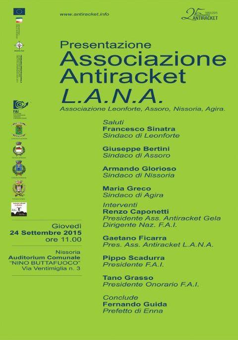 Presentazione Associazione antiracket L.A.N.A.