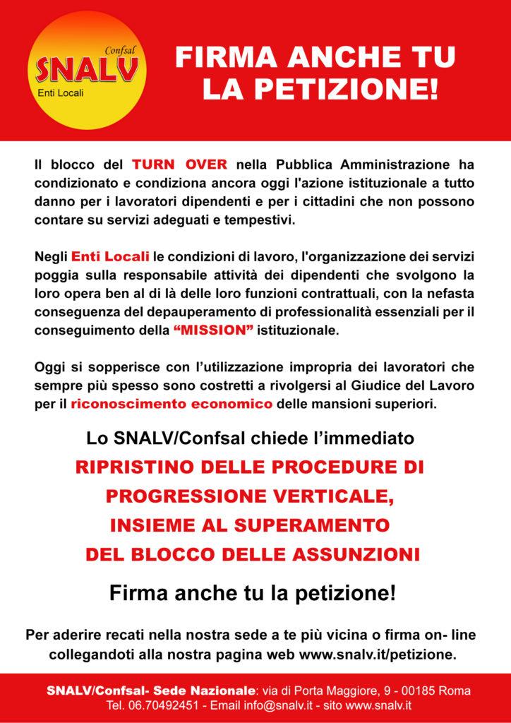 Petizione SNALV/Confsal Enti Locali