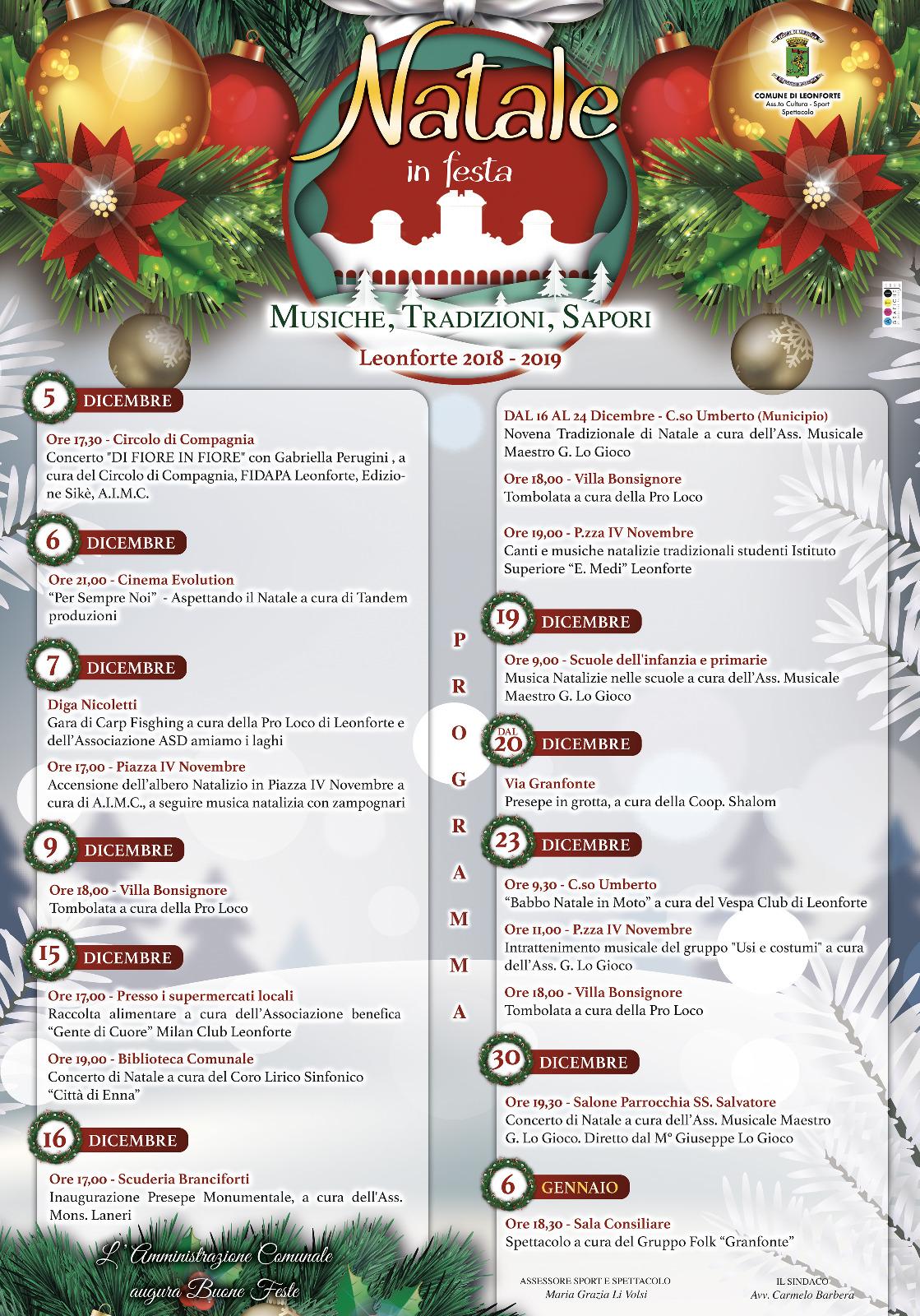 Natale in festa. Musiche, tradizioni, sapori. Programma