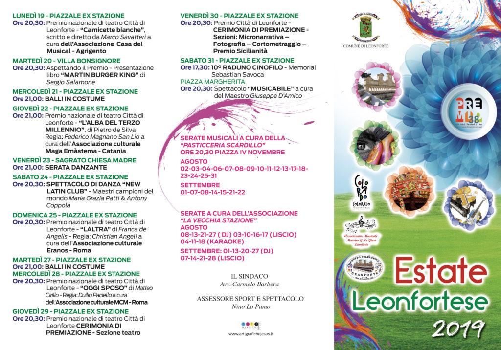 Programma estate Leonfortese 2019
